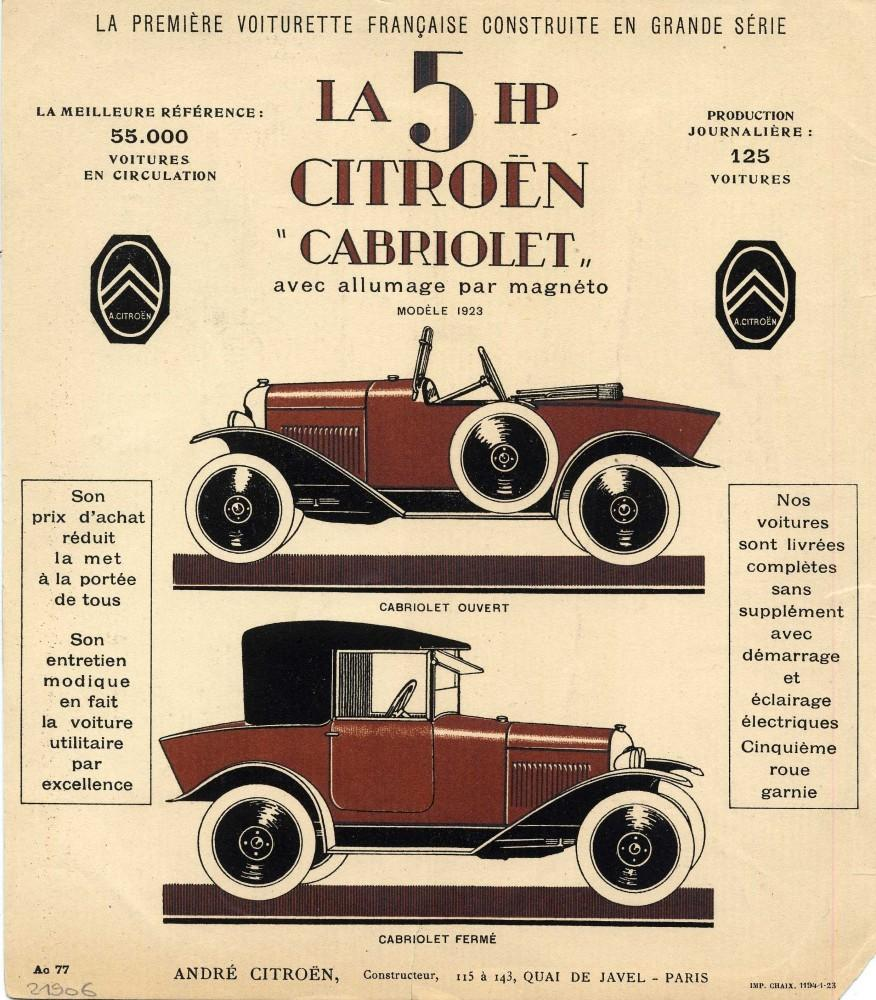 Brochure Citroën 5 HP 1923